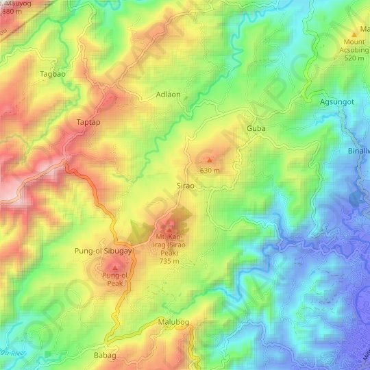 Sirao topographic map, relief map, elevations map