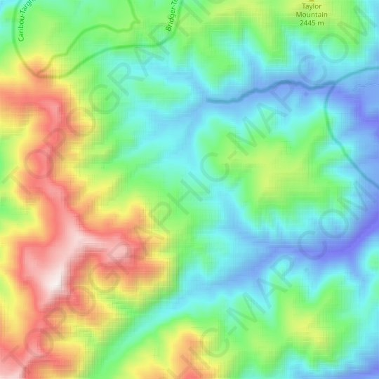 Rocky Mountains topographic map, elevation, relief