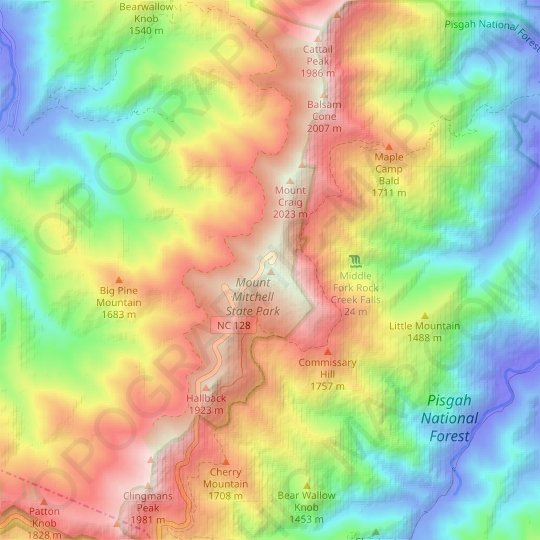 Mount Mitchell topographic map, elevation, relief