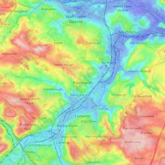 Rawmarsh topographic map, relief map, elevations map