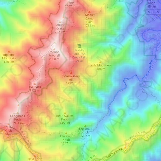 topographic map of appalachian mountains Appalachian Mountains Topographic Map Elevation Relief