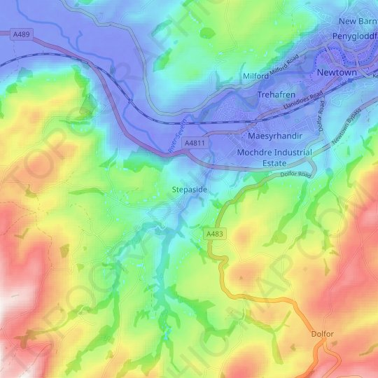 Stepaside topographic map, relief map, elevations map