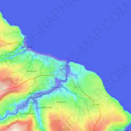 Whitby topographic map, relief map, elevations map