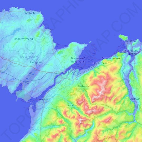 Bangor topographic map, relief map, elevations map