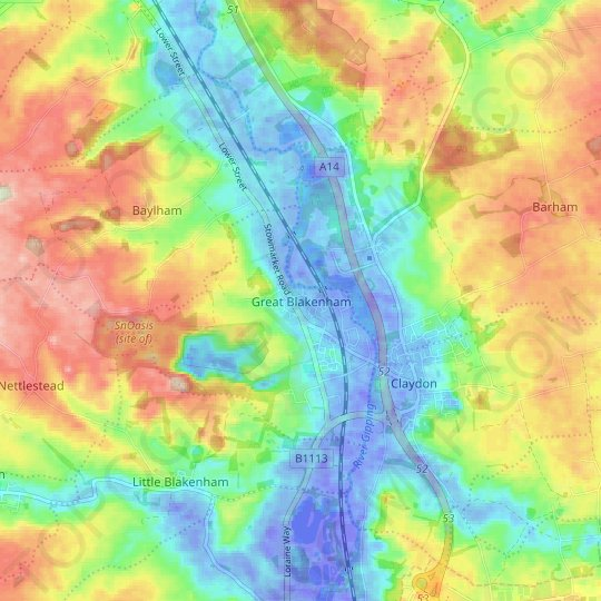 Great Blakenham topographic map, relief map, elevations map