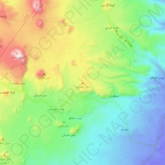 Jabal al Gharbi topographic map, relief map, elevations map