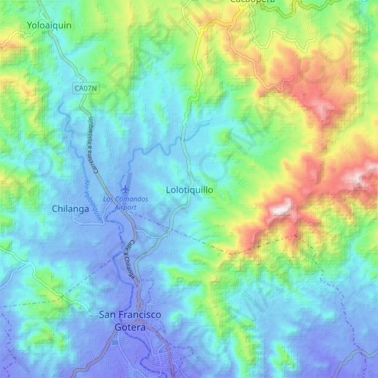 Lolotiquillo topographic map, relief map, elevations map