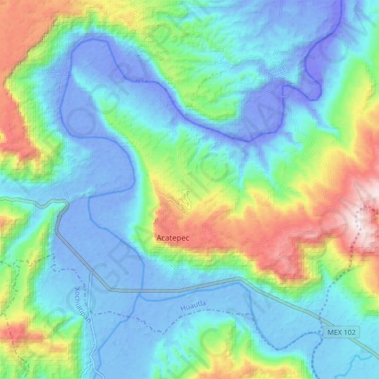 Huemaco topographic map, relief map, elevations map