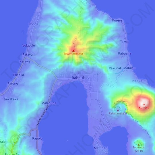 Rabaul topographic map, relief map, elevations map