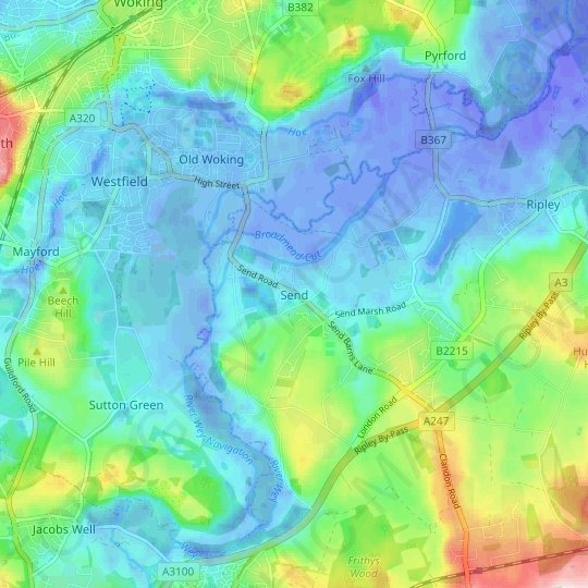 Send topographic map, relief map, elevations map