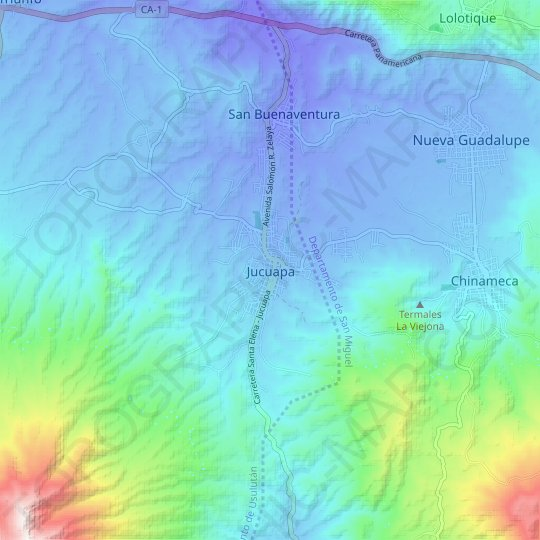 Jucuapa topographic map, relief map, elevations map