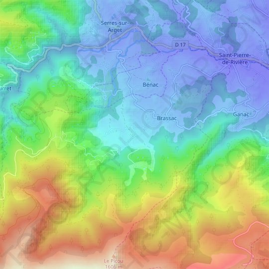 Cazals topographic map, relief map, elevations map