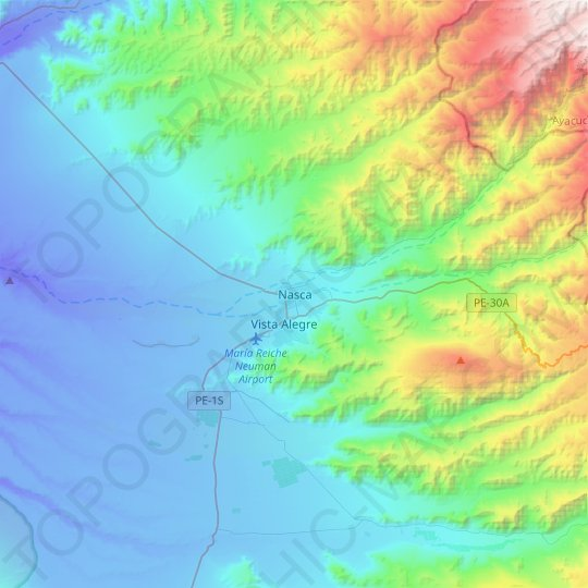 Nazca topographic map, relief map, elevations map