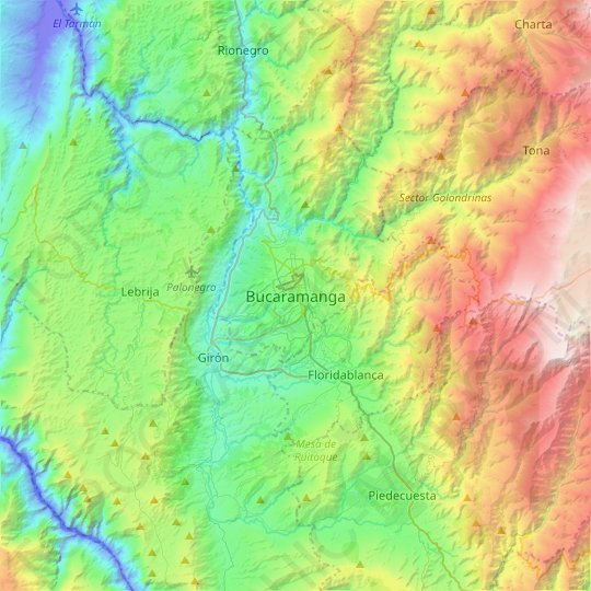 Bucaramanga topographic map, relief map, elevations map