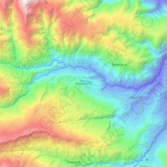 Bokondini topographic map, relief map, elevations map