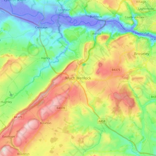 Much Wenlock topographic map, relief map, elevations map