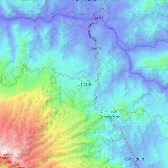 Osicala topographic map, relief map, elevations map