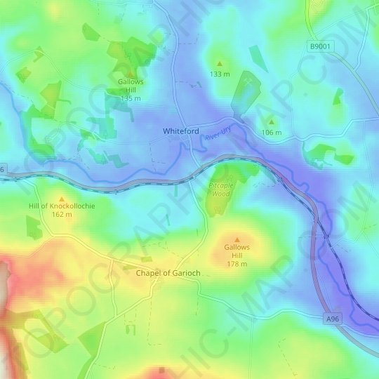 Pitcaple topographic map, relief map, elevations map