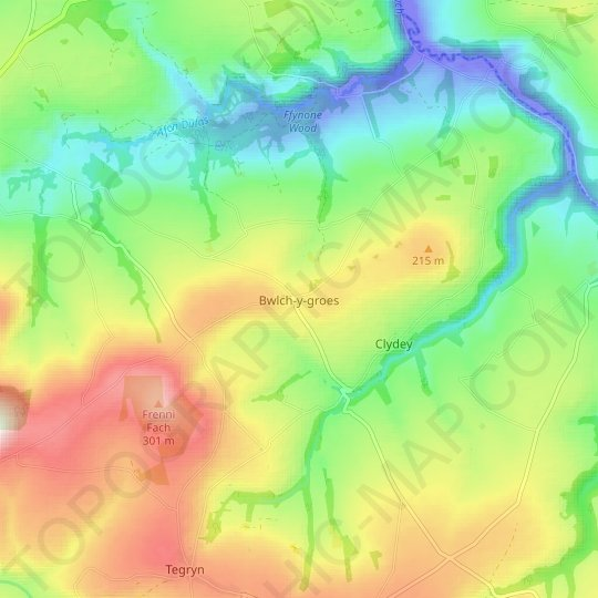 Bwlch-y-groes topographic map, relief map, elevations map