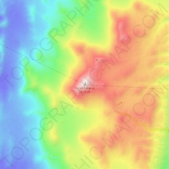 Cerro Paranal topographic map, relief map, elevations map