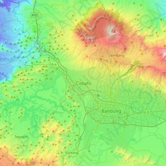 Cimahi topographic map, relief map, elevations map