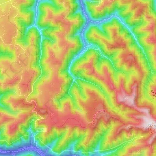 United topographic map, elevation, relief