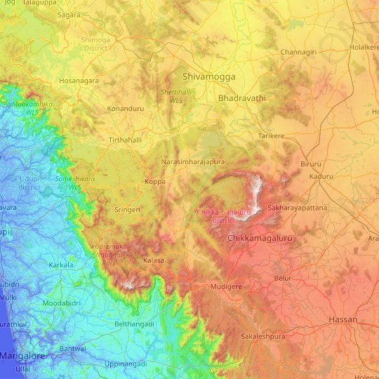 Chikmagalur topographic map, elevation, relief