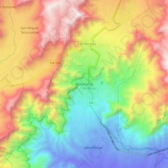 Malinalco topographic map, elevation, relief