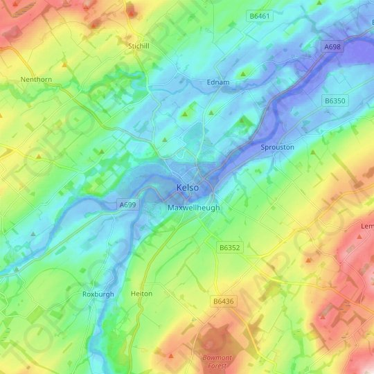 Kelso topographic map, elevation, relief
