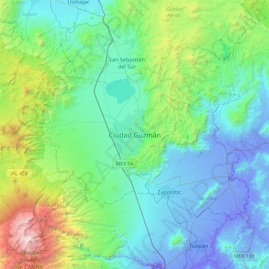 Ciudad Guzmán topographic map, relief map, elevations map