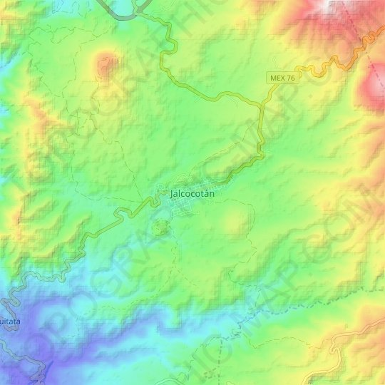 Jalcocotán topographic map, relief map, elevations map