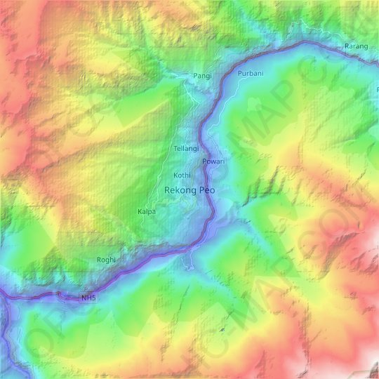 Rekong Peo topographic map, relief, elevation