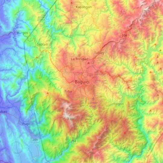 Baguio topographic map, relief map, elevations map