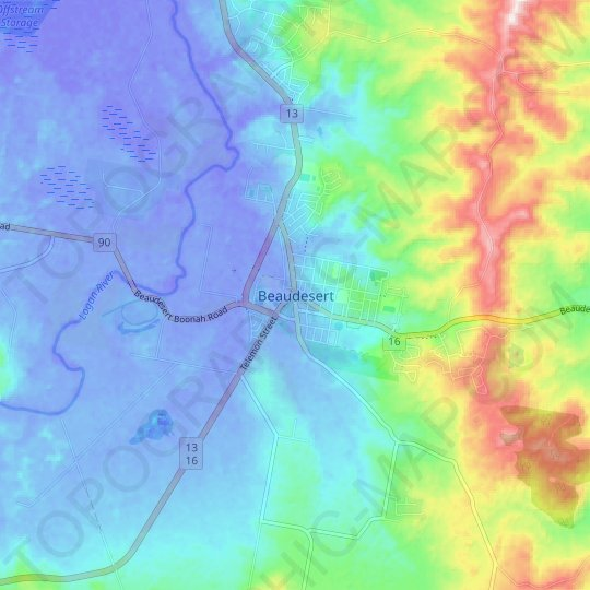 Beaudesert topographic map, relief map, elevations map