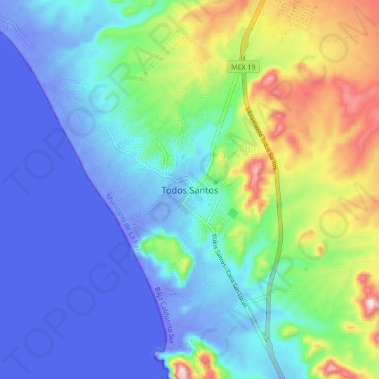 Todos Santos topographic map, relief map, elevations map