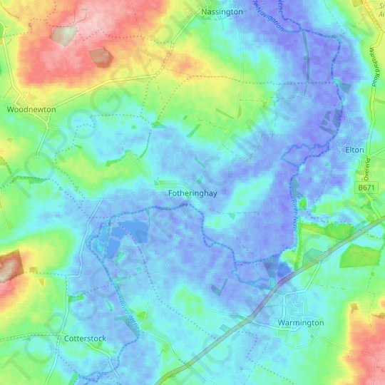 Fotheringhay topographic map, relief map, elevations map