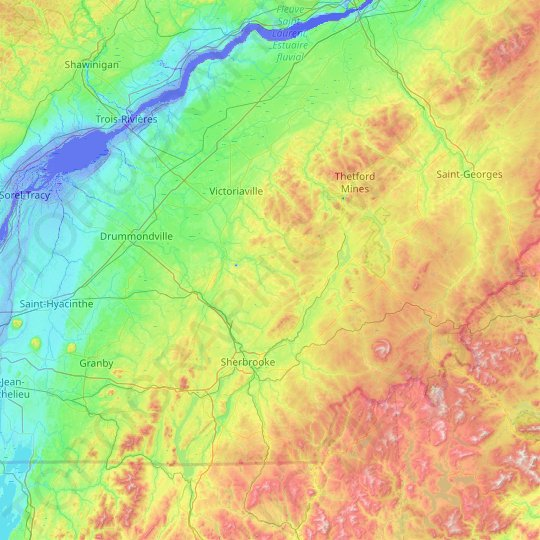 Les Sources topographic map, relief map, elevations map
