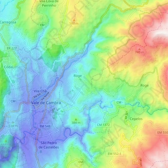 Miravale topographic map, relief map, elevations map