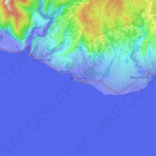 Bel Ombre topographic map, relief map, elevations map