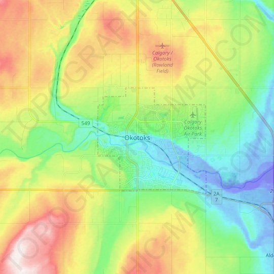 Okotoks topographic map, relief map, elevations map
