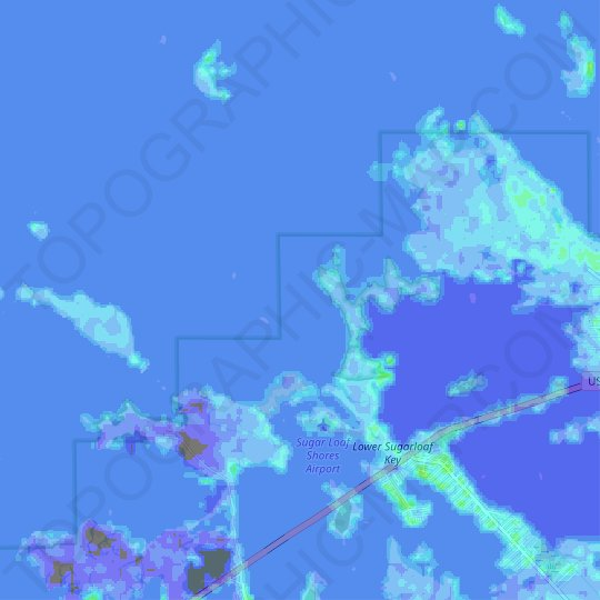 Florida Keys topographic map, elevation, relief