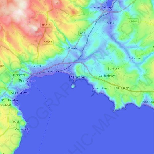 Marazion topographic map, relief map, elevations map