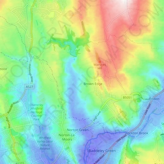 Brown Edge topographic map, relief map, elevations map