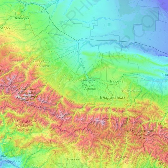 Republic of North Ossetia-Alania topographic map, relief map, elevations map