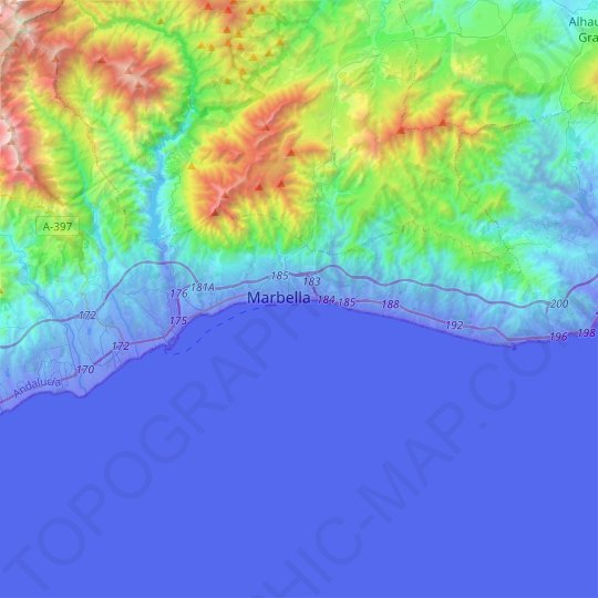 Marbella topographic map, relief map, elevations map