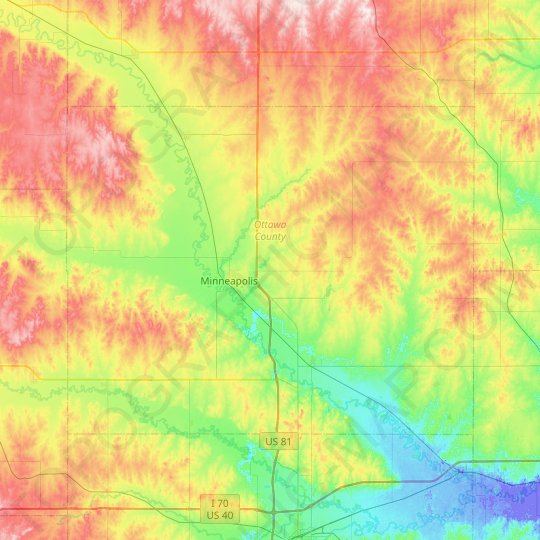 Ottawa County topographic map, elevation, relief