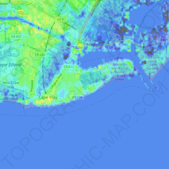Cape May topographic map, relief map, elevations map