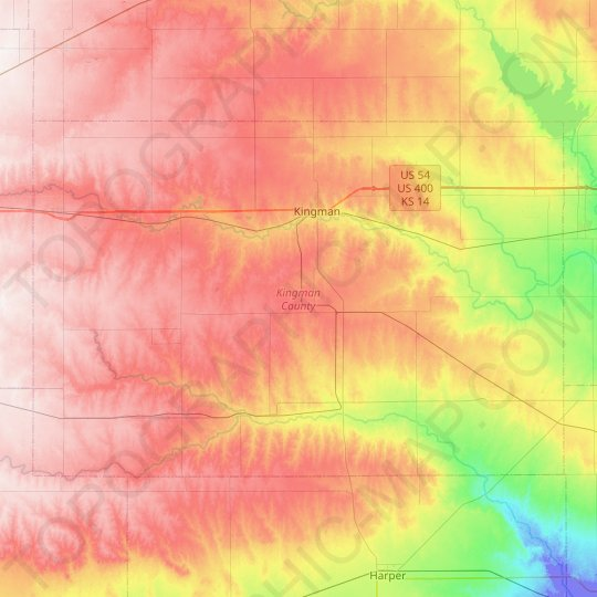 Kingman County topographic map, elevation, relief