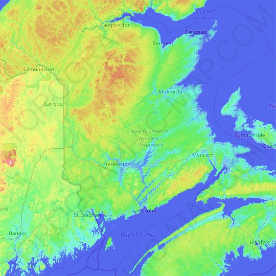 New Brunswick topographic map, relief map, elevations map