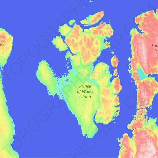 Prince of Wales Island topographic map, relief map, elevations map